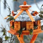 Birdhouse/ Birdfeeder With Asphalt Shingles, Bird Feeders, Bird Table
